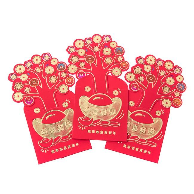 3入發財樹造型紅包袋