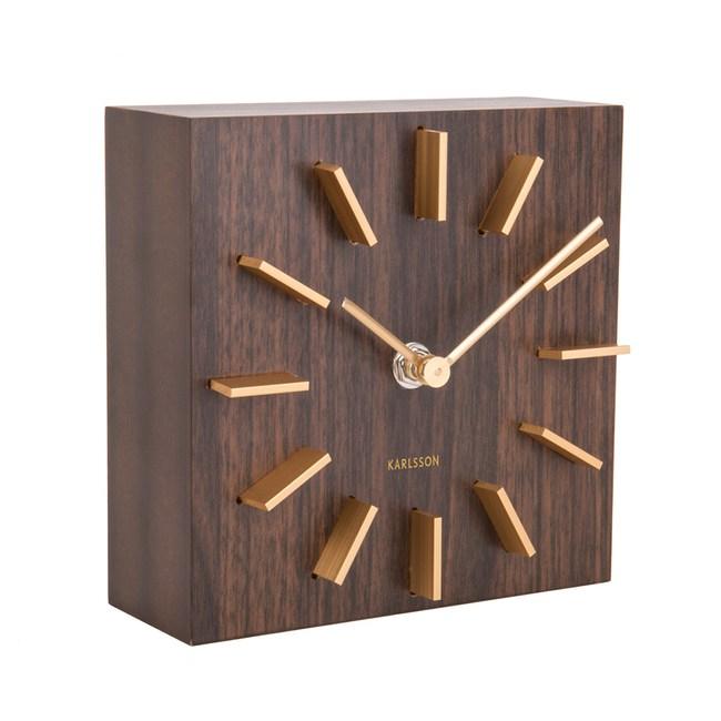 Karlsson簡約立體刻度桌鐘 棕 15cm