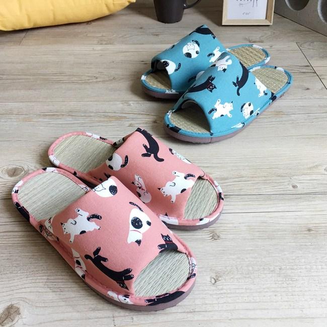 【iSlippers】小日常-MIT真草蓆室內拖鞋-慵懶貓咪慵懶貓咪-藍L