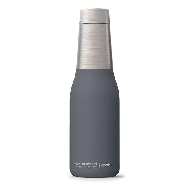 Asobu 不鏽鋼繽紛雙層保溫瓶濛濛灰