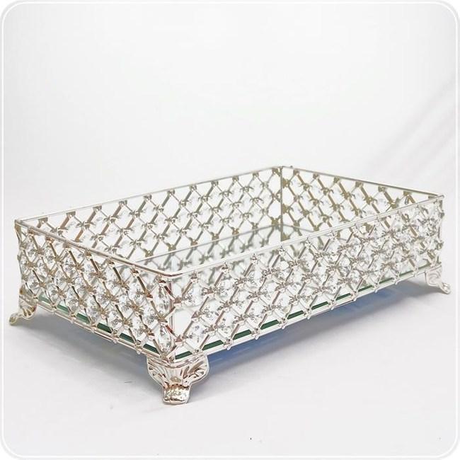 HONEY COMB 鋅合金方型菱面水晶鏡面盤架 CB09