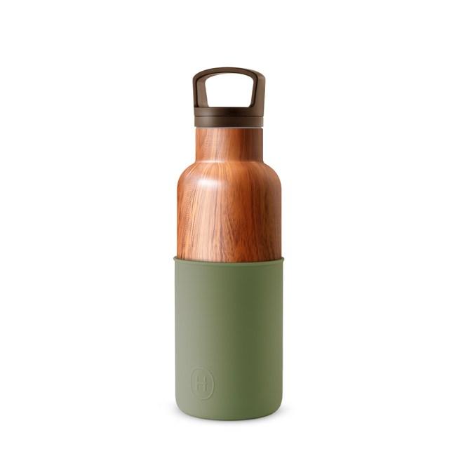 【HYDY】時尚保溫瓶 軍綠-木紋瓶 (480ml)