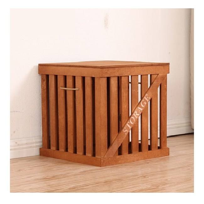 木質簍空附蓋收納箱 褐色 小