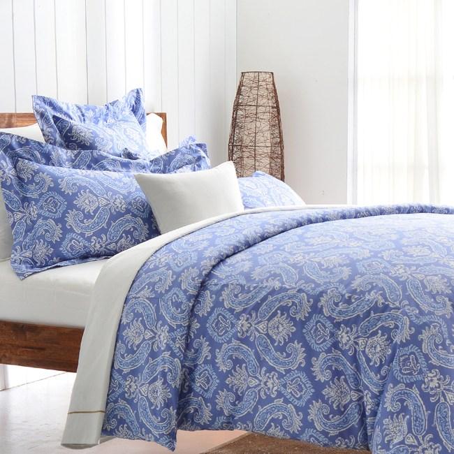【Cozy inn】湛青-深藍 300織精梳棉四件式被套床包組(特大)