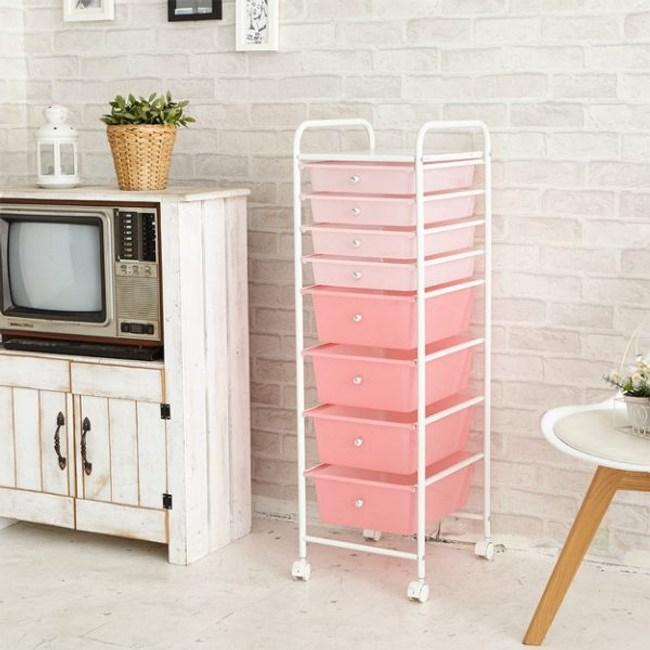 【H&R安室家】可移式4大4小粉漾抽屜收納箱