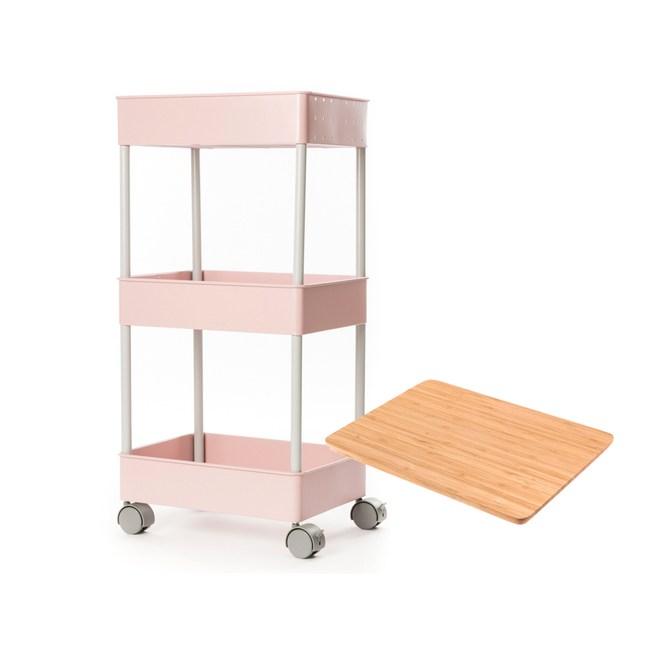 (組)鐵製烤漆三層推車-粉+桌板