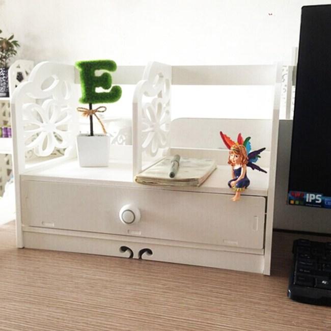 【Osun】DIY木塑板 白色雕花櫻花書架(YH40)