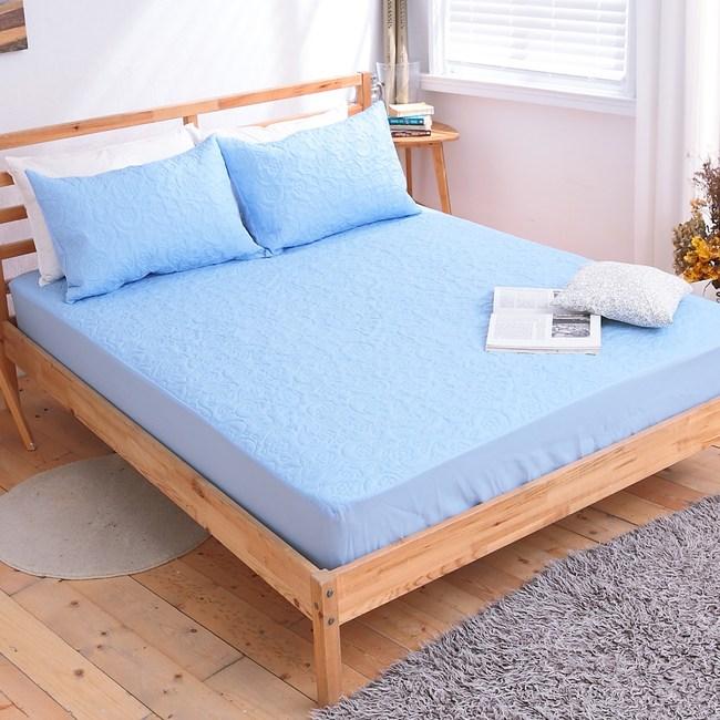 【eyah】吸濕排汗大和防蹣抗菌雙效床包式保潔墊-單人-王子藍