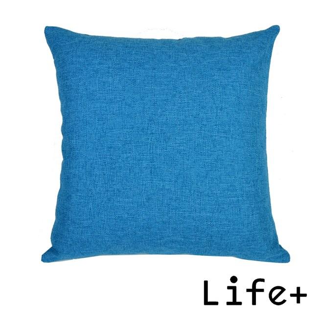 【Life+】簡約素色 棉麻舒適方型抱枕.靠枕_深藍