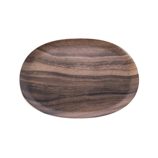 HOLA 曼蒂美耐皿橢圓托盤30cm木紋