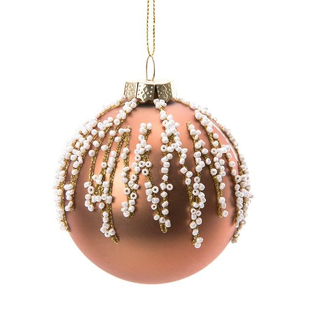 金色珠串玻璃球吊飾80mm