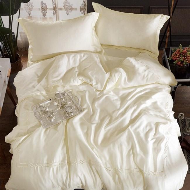【貝兒居家寢飾生活館】裸睡系列60支刺繡素色萊賽爾天絲兩用被床包組(雙人/米白色)