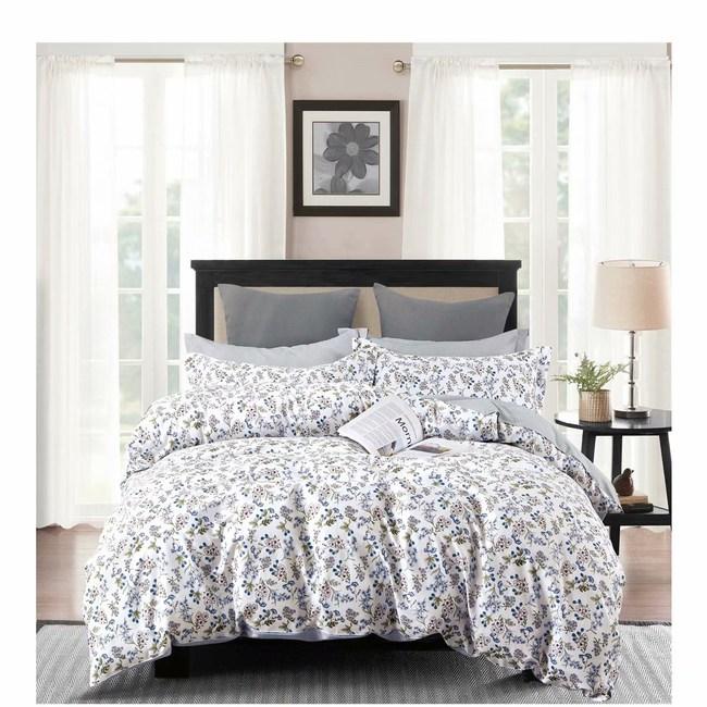 純棉兩用被床包枕套組-雙人四件組-花舞春天-藍