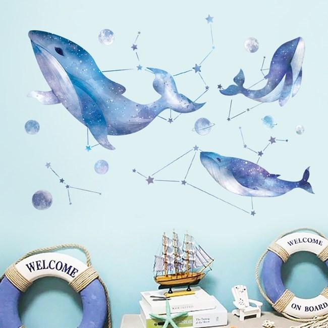 【Loviisa 夢幻藍鯨】無痕壁貼 壁紙