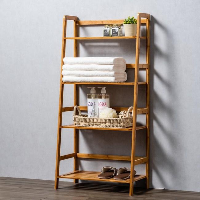 竹藝竹製階梯四層置物架