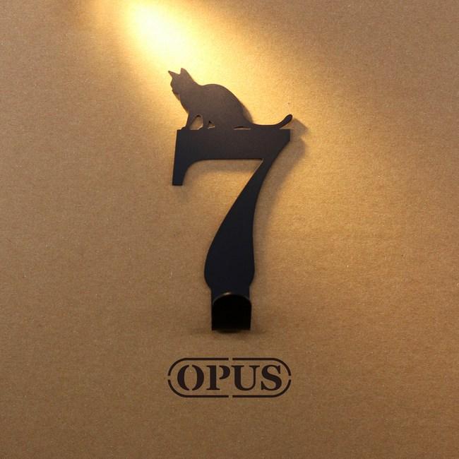 OPUS 歐式鐵藝壁飾掛勾/無痕掛鉤(當貓咪遇上數字7)黑