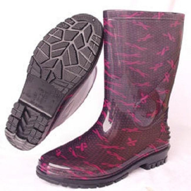 台製一體成型中筒雨鞋雨靴-紅絲帶22