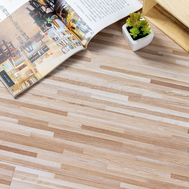 樂嫚妮 送小刀-地板貼DIY仿木紋地貼-1.5坪 809-米色竹節拼木X36