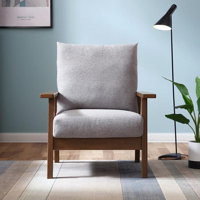 林氏木業現代簡約實木單人布沙發 LS150-胡桃色+灰色