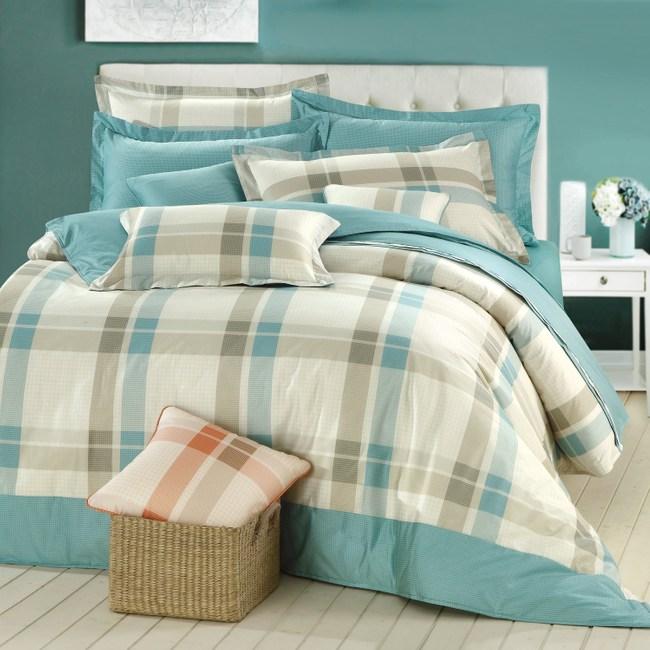 GOLDEN-TIME-清爽格紋-200織精梳棉兩用被套床包組(綠-單人)