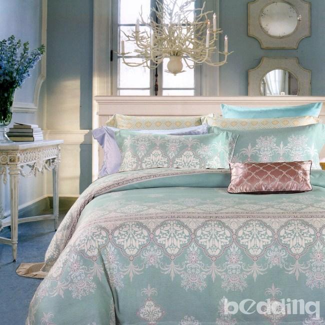BEDDING-100%天絲植物花卉三件式枕套床包組-塞納風情(加大)