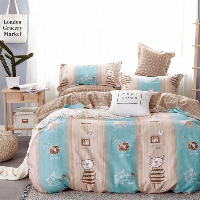 【eyah】100%寬幅精梳純棉雙人加大床包枕套3件組-藍寶貴族貓