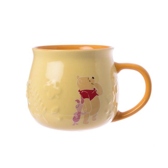 HOLA 迪士尼系列維尼浮雕馬克杯-黃
