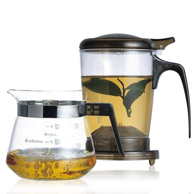 【丞漢】快速沖泡壺/咖啡兩用泡茶壺+玻璃小巧壺PC-500-1