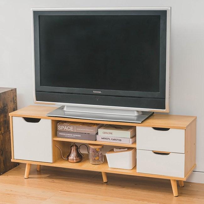 樂嫚妮 附門雙抽屜雙格電視櫃-楓木色-寬120cm楓木白
