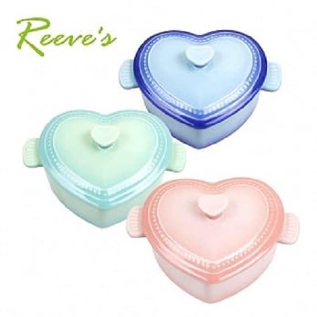 【韓國Reeves 維思】北歐FIKA陶瓷心形碗附蓋(3色可選)天空藍