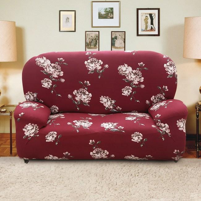 【格藍傢飾】月色牡丹彈性沙發套-1+2+3人