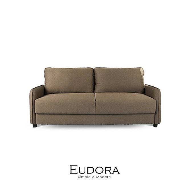【obis】Eudora收納型三人布沙發-咖啡色