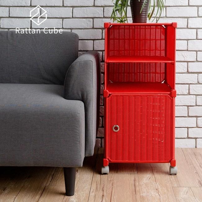 【藤立方】組合2層置物架(1門板+1層板+附輪)-紅色-DIY