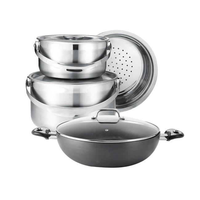 (組)輕量不沾導瓷炒鍋34cm +316不鏽鋼調理鍋三件組