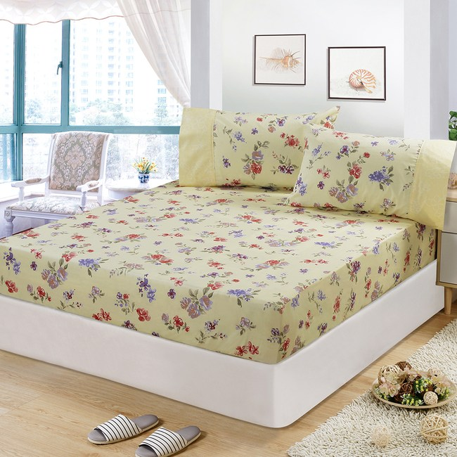 【FITNESS】精梳棉特大床包+枕套三件組-穠芳(黃)
