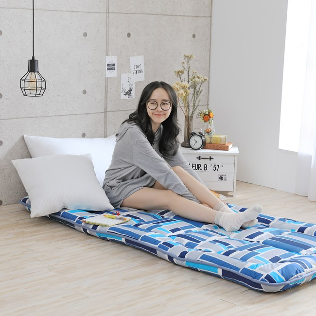 GOODDAY-高密度纖維棉和室床墊-雙人5尺(藍格)