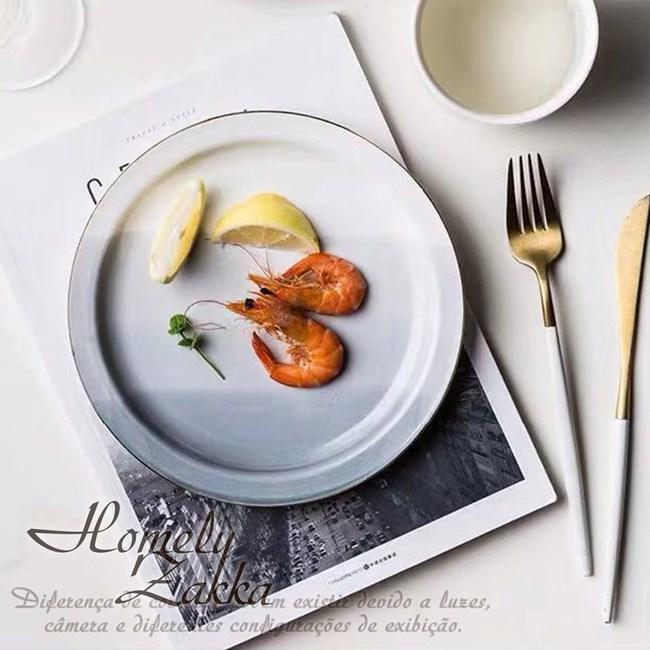 【Homely Zakka】北歐創意ins風金邊陶瓷餐具_大圓平盤