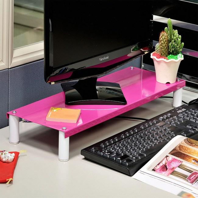 【H&R安室家】省空間桌上螢幕架/鍵盤架2入(多色可選)桃紅*2