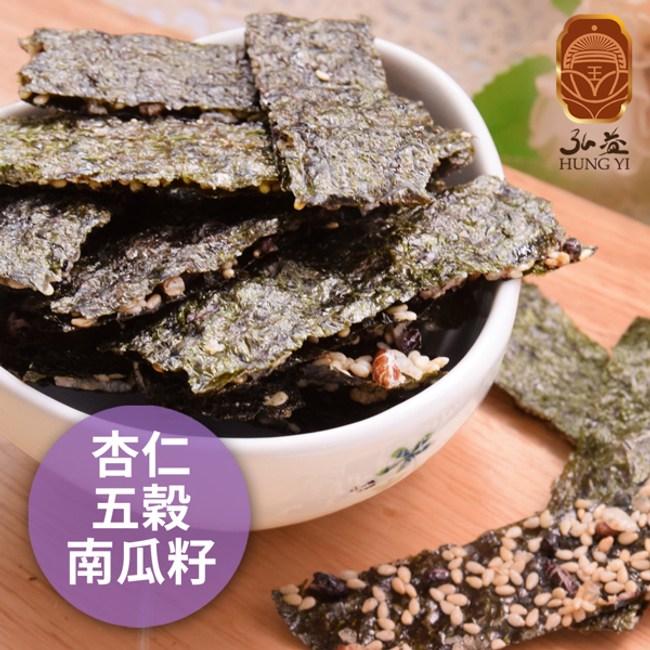 弘益傳香世家.海苔脆片-杏仁+五穀+南瓜子(40g包,共三包)