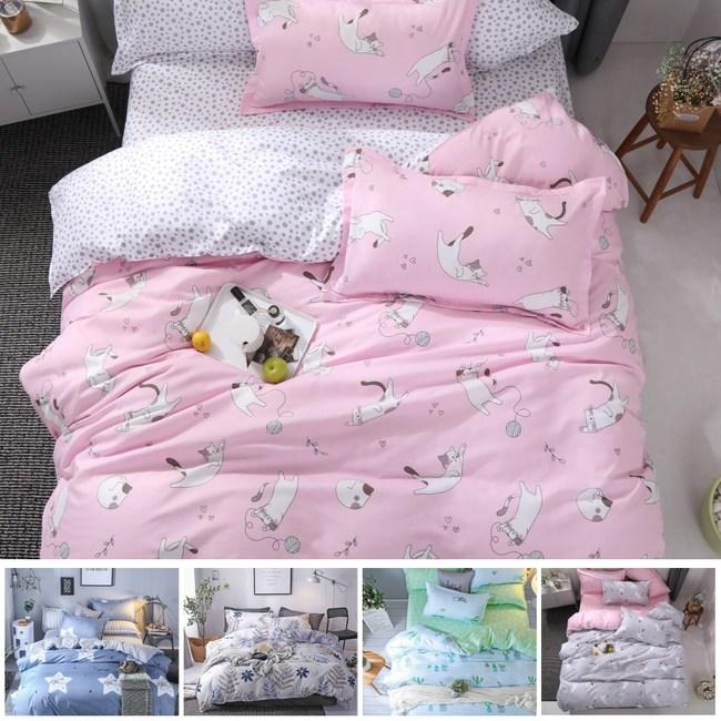 【eyah】100%時尚天使絨雙人加大床包枕套3件組-多款任選粉貓戲毛球