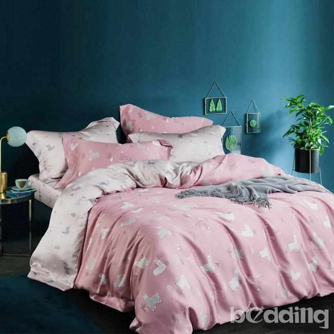 BEDDING-100%天絲三件式枕套床包組-清新派粉(特大)