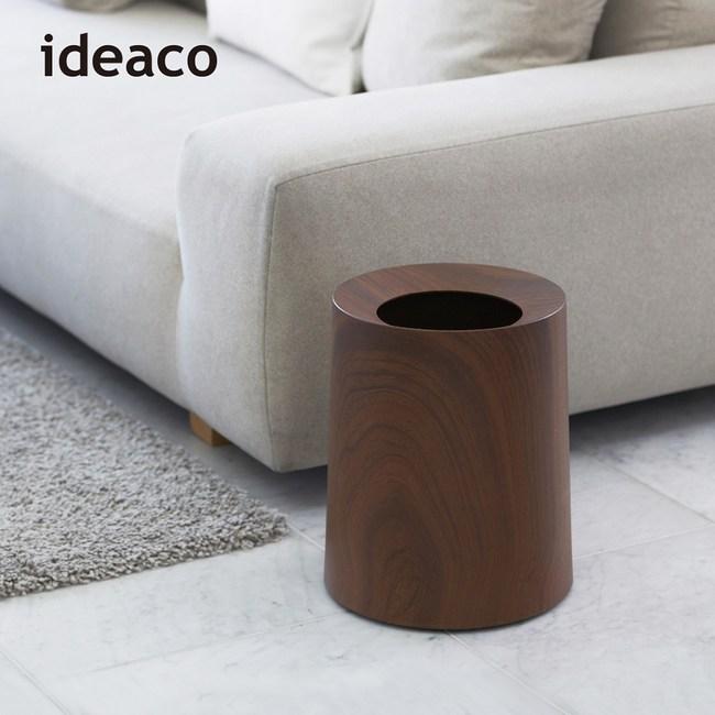 【日本IDEACO】胡桃木紋家用垃圾桶-11.4L單一規格