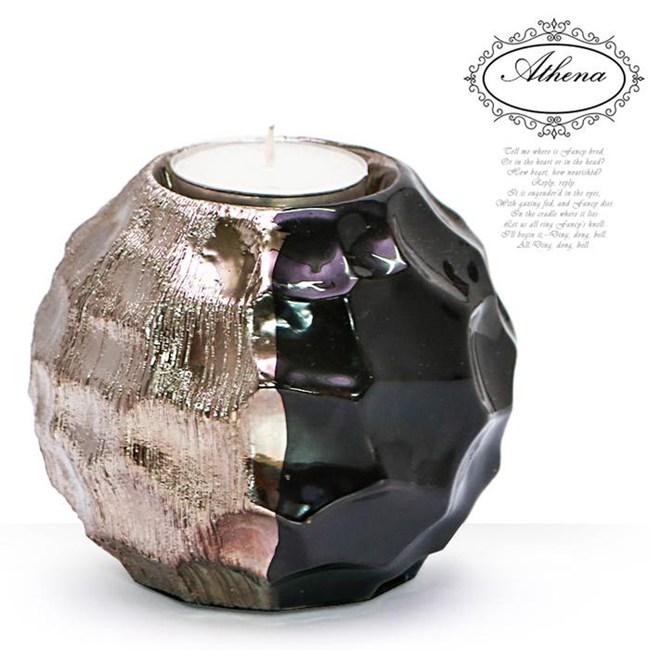 HONEY COMB 黑銀雙色不規則球形燭台 GN58