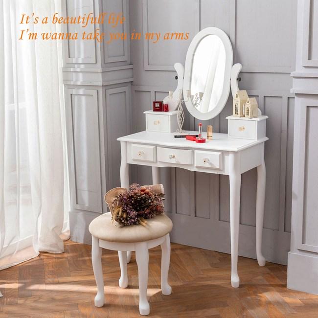 《Anshome》新古典法式公主風水晶化妝桌椅組