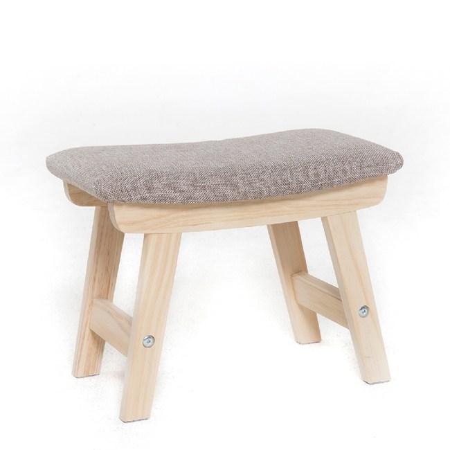 【IDEA】日式帆船造型實木腳椅凳(布套可拆洗/二色可選)亞麻灰