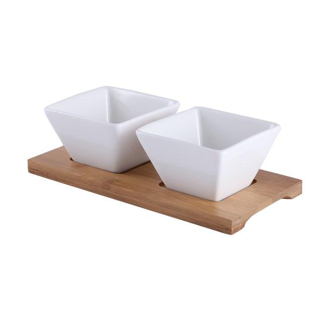 HOLA 方型小缽2入附竹盤