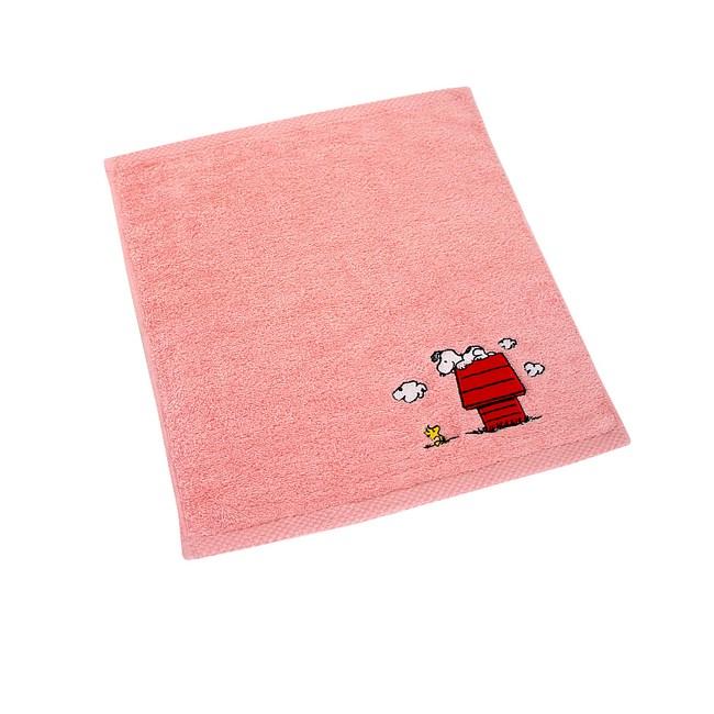 SNOOPY素色刺繡方毛浴巾組-粉色