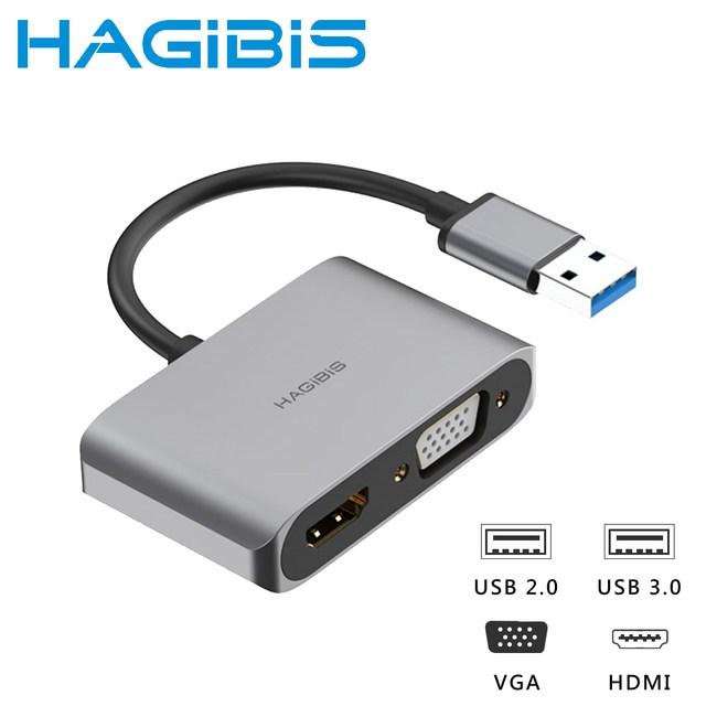 HAGiBiS USB3.0轉HDMI/VGA/USB三代影音轉接器