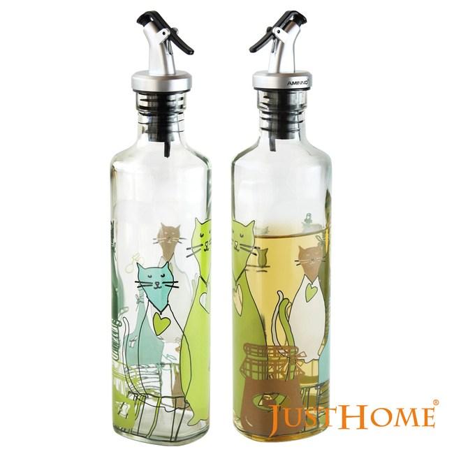 Just Home 優雅貓咪彩繪透明玻璃油醋瓶350ml(超值2入組)