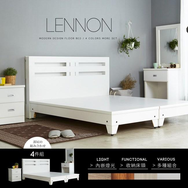 obis藍儂田園鄉村風系列雙人房間組4件式(床頭床底二抽櫃化妝台)4色白色